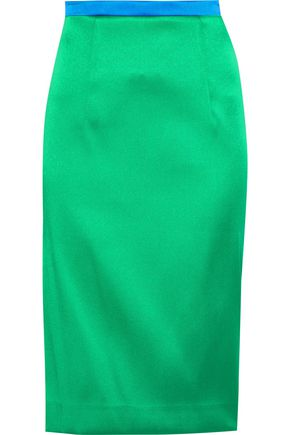 MILLY Duchesse-satin pencil skirt