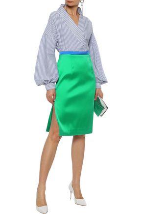 MILLY Duchesse-satin pencil skirt