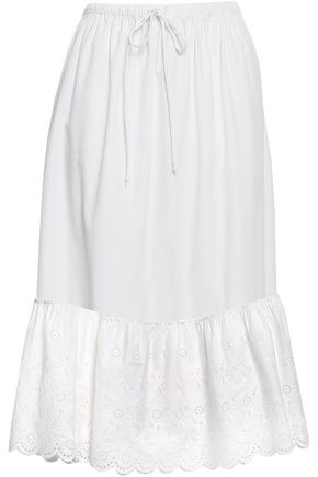 McQ Alexander McQueen Gathered broderie anglaise cotton midi skirt