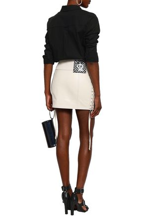McQ Alexander McQueen Lace-up appliquéd textured-leather mini skirt