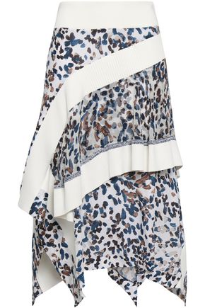 3.1 PHILLIP LIM Asymmetric ribbed knit-trimmed printed silk crepe de chine skirt