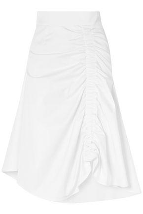 SID NEIGUM Ruched cotton-blend poplin skirt