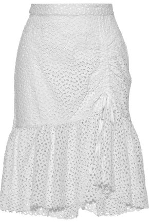 W118 by WALTER BAKER Evelet ruched cotton guipure lace skirt