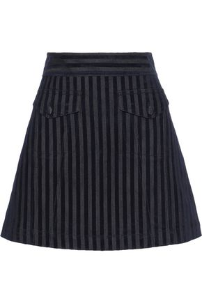 DEREK LAM 10 CROSBY Flocked striped denim mini skirt