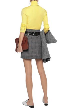 DEREK LAM 10 CROSBY Faux patent-leather paneled Prince of Wales woven mini skirt