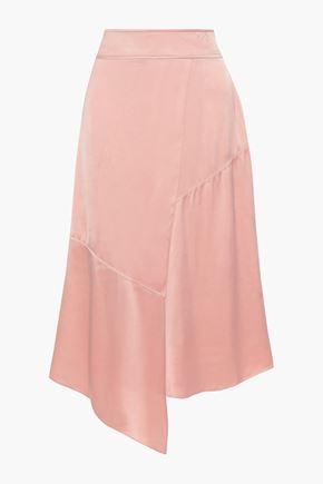 DEREK LAM 10 CROSBY Asymmetric charmeuse midi skirt
