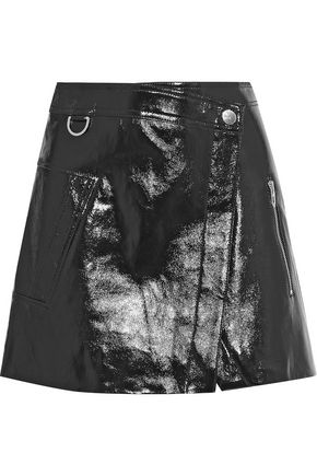 DEREK LAM 10 CROSBY Wrap-effect patent-leather mini skirt