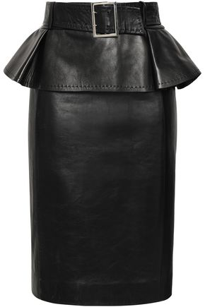 MUGLER Belted leather peplum skirt