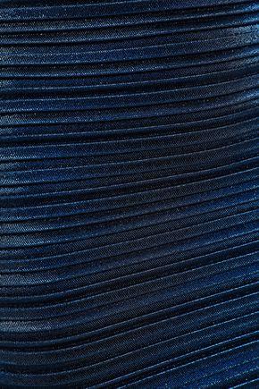 MUGLER Metallic plissé-cady midi pencil skirt