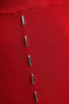 MUGLER Embellished ribbed-knit midi pencil skirt
