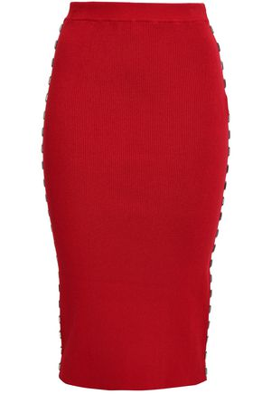 MUGLER Embellished ribbed-knit midi pencil skirt