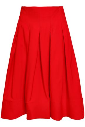 KHAITE Carly pleated twill skirt
