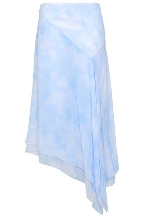 MICHAEL KORS COLLECTION Asymmetric tie-dye silk-georgette skirt