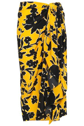 MICHAEL KORS COLLECTION Printed silk crepe de chine wrap skirt