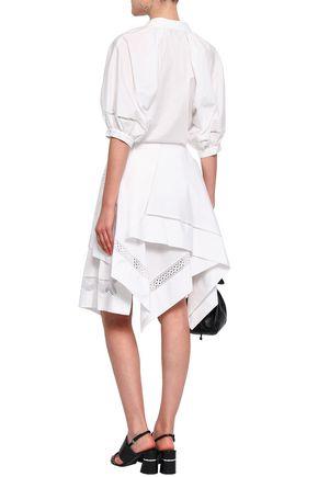 3.1 PHILLIP LIM Asymmetric crochet-trimmed cotton-poplin skirt