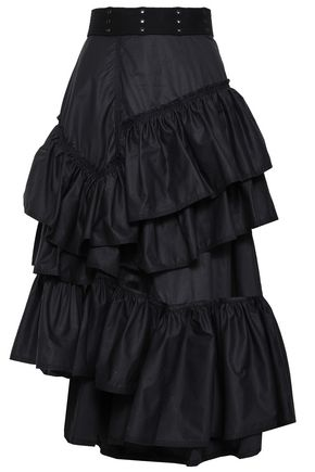 3.1 PHILLIP LIM Asymmetric tiered cotton-poplin skirt
