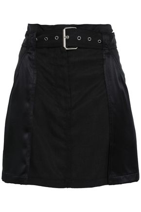 3.1 PHILLIP LIM Belted satin-paneled twill mini skirt