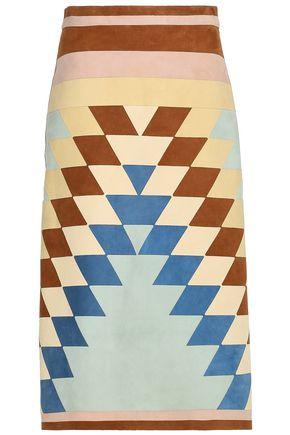 VALENTINO Color-block suede midi skirt