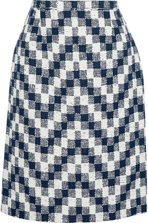 OSCAR DE LA RENTA Checked cotton-blend tweed skirt