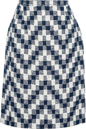 OSCAR DE LA RENTA チェック コットン混ツイード スカート