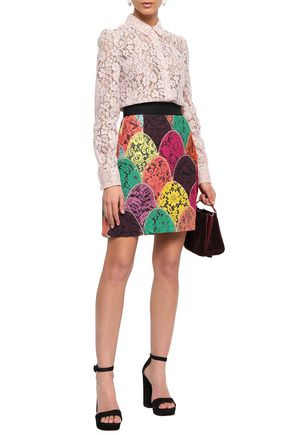 DOLCE & GABBANA Patchwork corded lace mini skirt