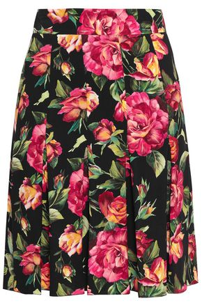 DOLCE & GABBANA Pleated floral-print crepe skirt