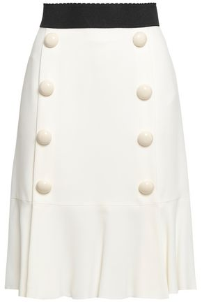 DOLCE & GABBANA Pleated button-embellished crepe skirt
