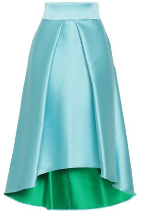 MILLY Asymmetric flared duchesse-satin skirt