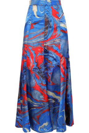 ROSIE ASSOULIN Fluted printed satin-twill midi skirt