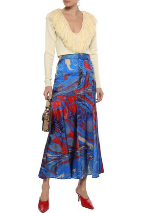 ROSIE ASSOULIN Fluted printed satin-twill midi skirt