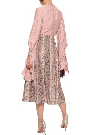 EMILIA WICKSTEAD Richie pleated snake-print silk crepe de chine midi skirt