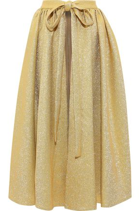 EMILIA WICKSTEAD Evelyn gathered metallic crepe midi apron
