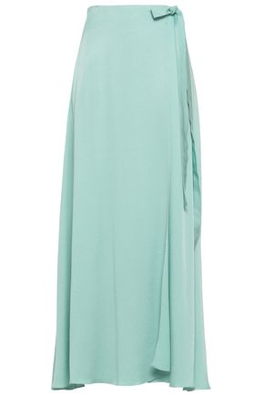 LES HÉROÏNES Crepe-satin maxi wrap skirt