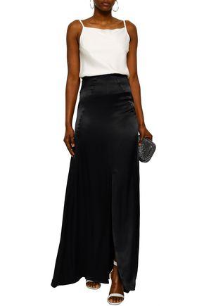 LES HÉROÏNES Flared crepe-satin maxi skirt