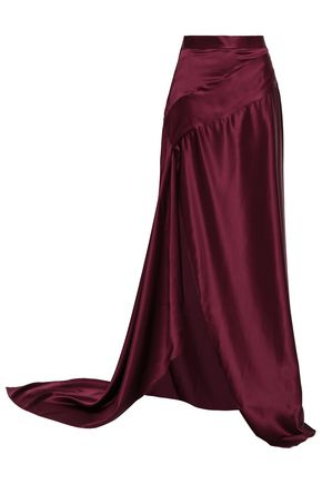 MICHAEL LO SORDO Gathered silk-satin maxi skirt
