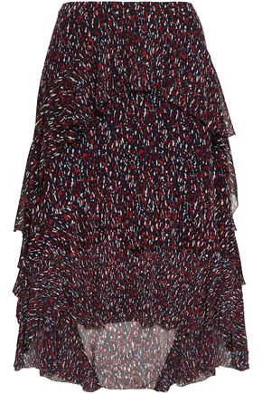 JOIE Brigida ruffled printed silk-georgette skirt