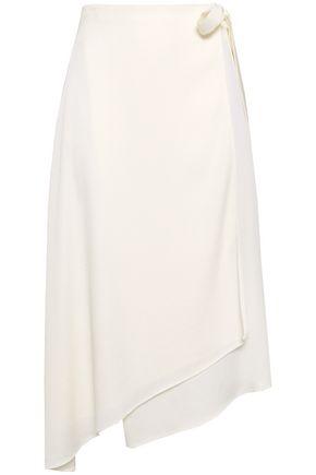 LES HÉROÏNES Crepe-satin midi wrap-skirt