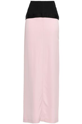 AMANDA WAKELEY Satin-trimmed ruffled cady maxi skirt