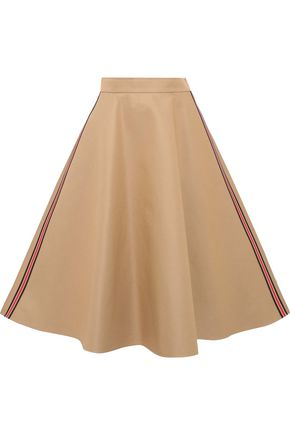 GOEN.J Flared striped cotton-blend twill midi skirt