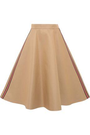 GOEN.J Flared striped cotton-blend twill midi skirt