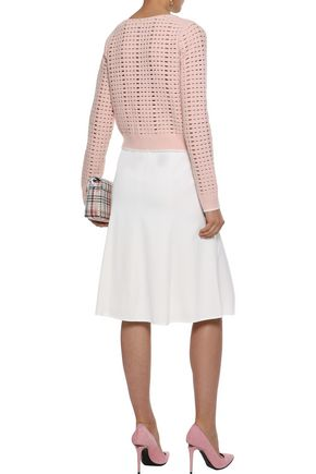 NARCISO RODRIGUEZ Button-embellished draped stretch-wool twill skirt
