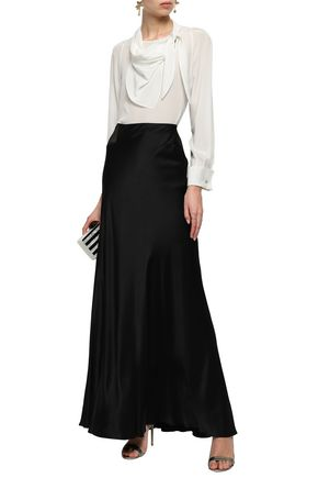 ALBERTA FERRETTI Silk satin-crepe maxi skirt