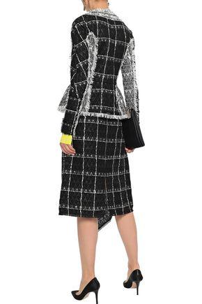 ROLAND MOURET Keaton draped checked cotton-blend tweed midi skirt