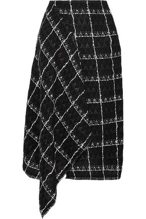 ROLAND MOURET Keaton draped checked cotton-blend tweed midi skirt