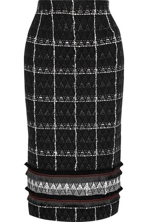 ROLAND MOURET Norley fringe-trimmed cotton-blend tweed pencil skirt