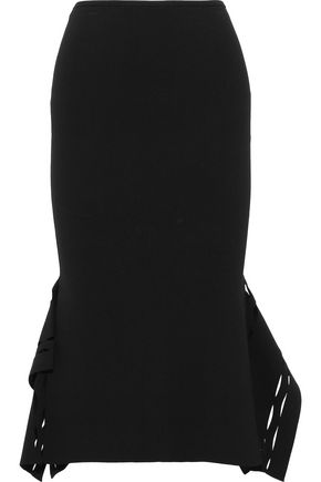 ROLAND MOURET Felthorpe laser-cut stretch-knit skirt
