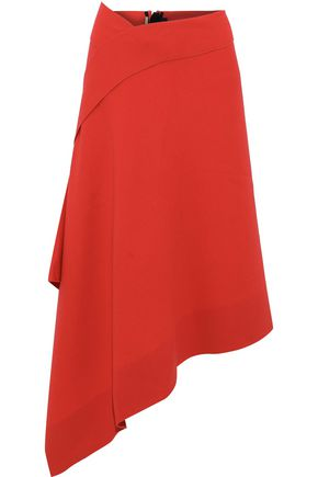 ROLAND MOURET Burke asymmetric wool-crepe midi skirt