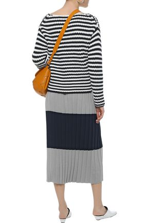 MAX MARA Violet pleated two-tone silk and cotton-blend midi skirt