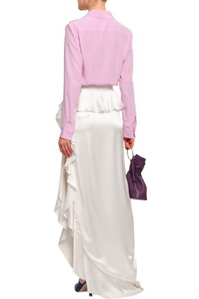 MICHAEL LO SORDO Ruffled silk-satin maxi skirt