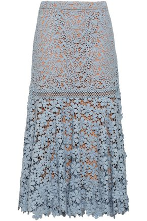 MICHAEL MICHAEL KORS Cotton guipure lace midi skirt